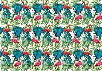 Flamingo en palmbladeren fotobehang