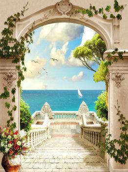 Balkon zeezicht fotobehang