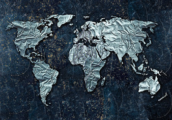 Wereldkaart fotobehang folie
