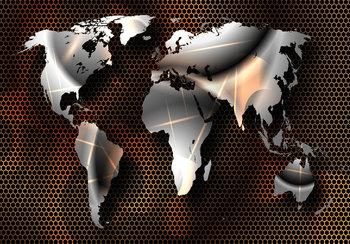 Wereldkaart fotobehang Chroom