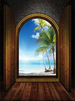 Deuren Palmboom fotobehang 3D