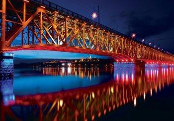 Brug over rivier fotobehang