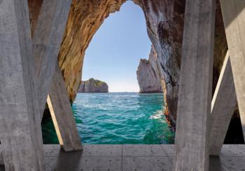 Zeezicht fotobehang 3D beton