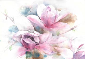 Aquarel bloemen fotobehang