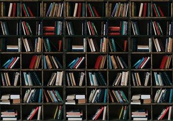 Boekenkast fotobehang zwart
