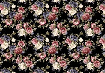 Bloemen fotobehang roze/zwart