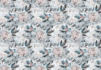 Bloemen fotobehang pioenrozen blauw