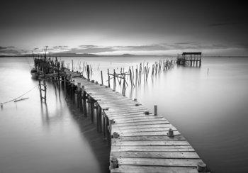 Pier fotobehang zwart-wit