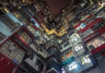 Stad in perspectief fotobehang