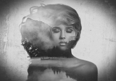 Vrouw reflectie fotobehang