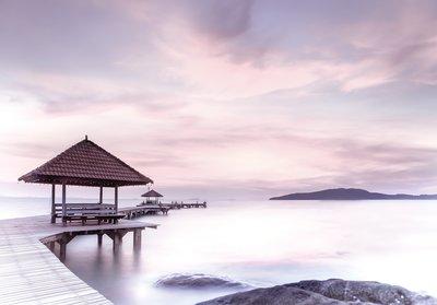 Pier fotobehang bij het meer