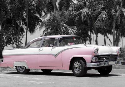 Cuba Oldtimer fotobehang roze