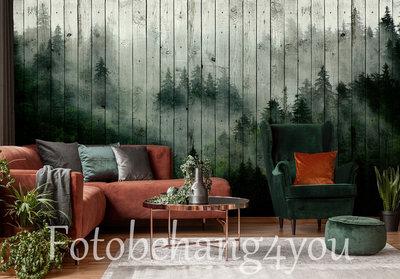 Misty Forest op hout fotobehang