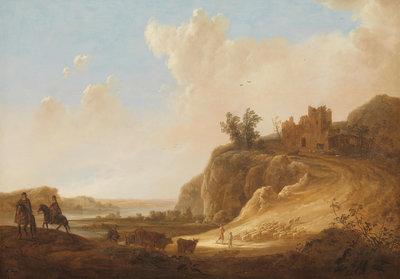 Bergachtig landschap met kasteelruine fotobehang Rijksmuseum