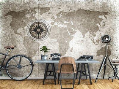 Wereldkaart fotobehang Kompas