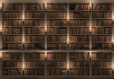 Bruine boekenkast fotobehang   papier- of vliesbehang - Fotobehang4you