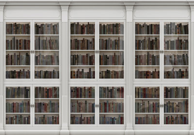 witte boekenkast fotobehang
