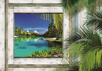 Hout fotobehang 3D Tropical View
