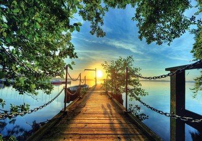 Aanlegsteiger zonsondergang fotobehang