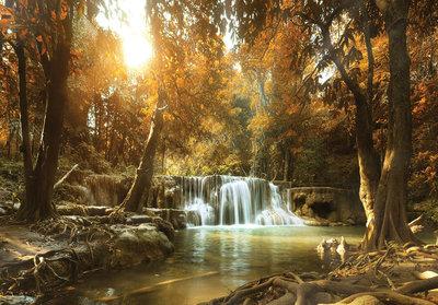 Waterval herfstbos fotobehang