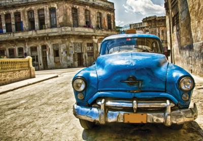 Auto fotobehang Cuba blauw