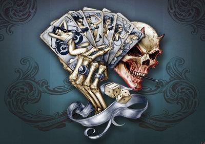 Cards Skull Dice Alchemy fotobehang