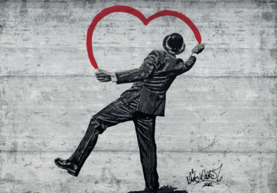 A Gentleman in Love fotobehang Banksy