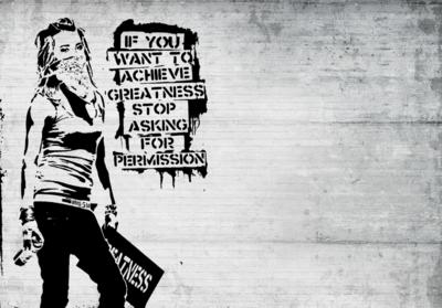 Stop Asking for Permission fotobehang Banksy