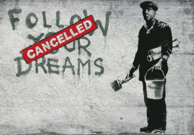 Follow your dreams fotobehang Banksy