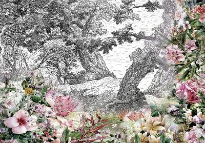 Bloemen fotobehang grijs
