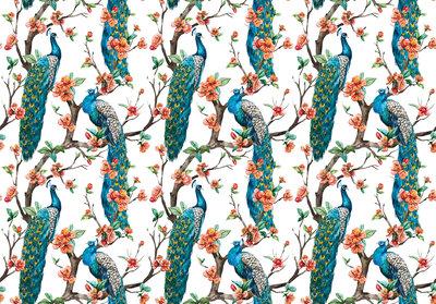 Blauwe Pauwen fotobehang