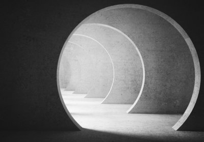 Ronde tunnel fotobehang