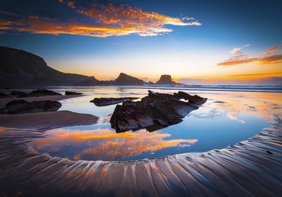 Zonsondergang meer fotobehang Reflectie